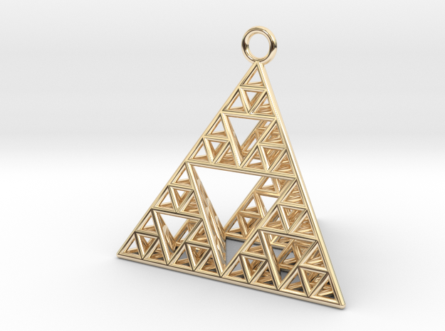 Sierpinski Tetrahedron earring with 32mm side in 14k Gold Plated Brass