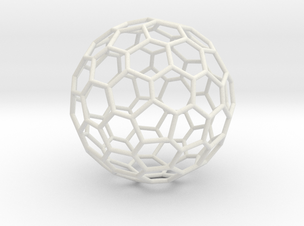 Goldberg polyhedron GP(2, 1) in White Natural Versatile Plastic: Large