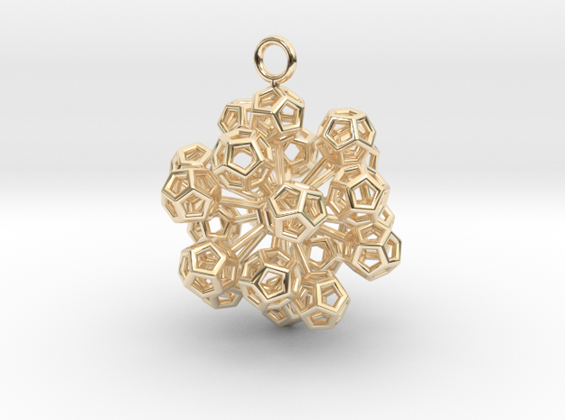 Dodecahedrons at vertex earrings in 14k Gold Plated Brass