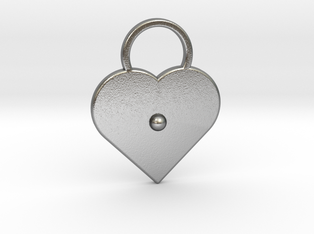 """""""a"""" Braille Heart in Natural Silver"""