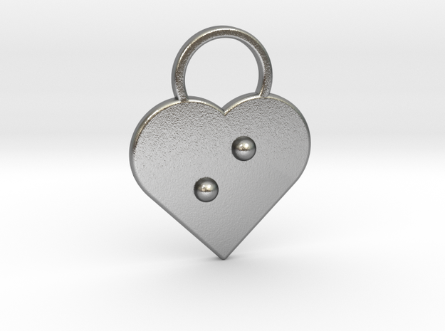 """""""i"""" Braille Heart in Natural Silver"""