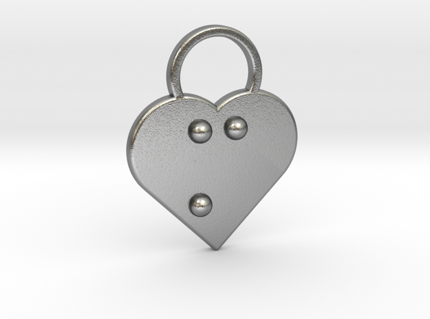 """""""m"""" Braille Heart in Natural Silver"""