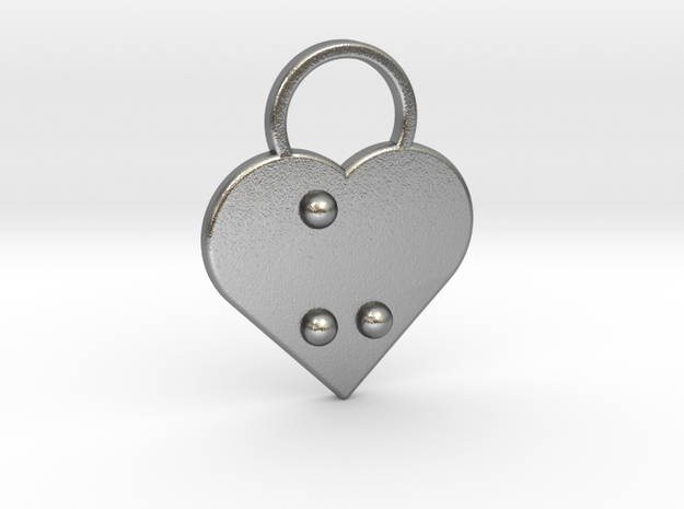 """u"" Braille Heart in Natural Silver"
