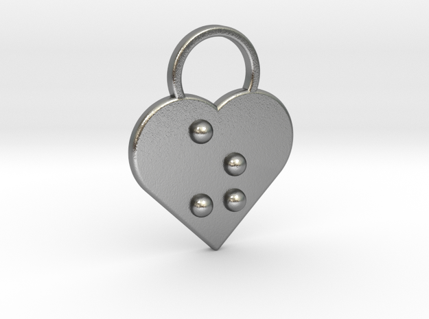"""""""z"""" Braille Heart in Natural Silver"""