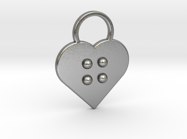"""""""g"""" Braille Heart in Natural Silver"""
