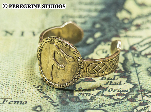 Ring - Gebo Rune (Size 13) 3d printed Polished Bronze (Ansuz Rune)