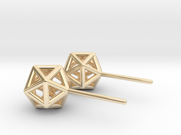 Simple Icosahedron Earring studs in 14k Gold Plated Brass