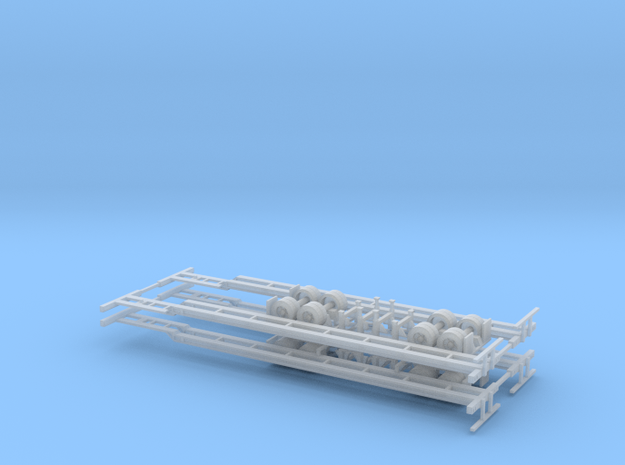 N 53' Container Chassis 4 Pack v1 in Smooth Fine Detail Plastic