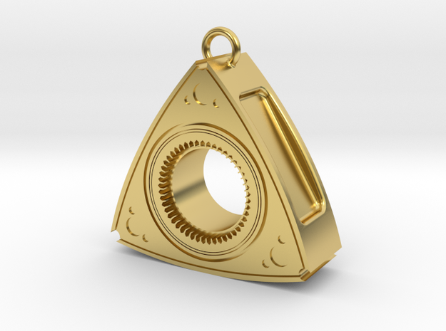 Mazda Rotary Engine Rotor Earring in Polished Brass