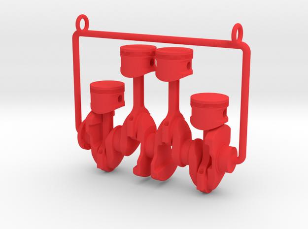 Inline 4 piston engine pendant in Red Processed Versatile Plastic