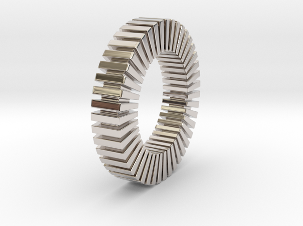 Patrick Tetragon 2 Ring - expanded in Rhodium Plated Brass: 1.75 / -