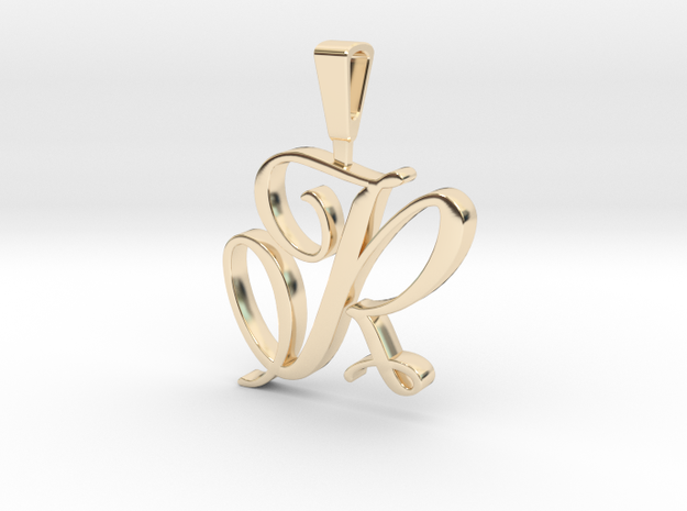 INITIAL PENDANT R in 14k Gold Plated Brass