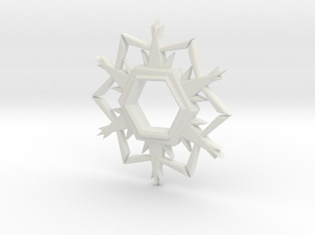 Alpha-Omega Snowflake in White Natural Versatile Plastic