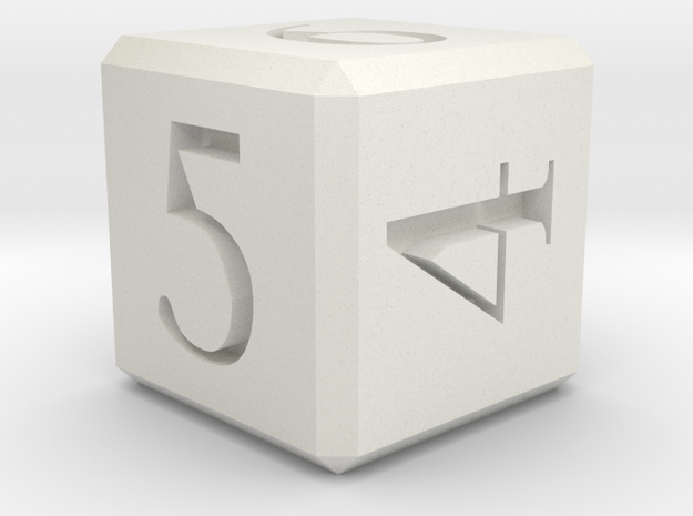 Numbered D6 Dice 10mm edge length in White Natural Versatile Plastic