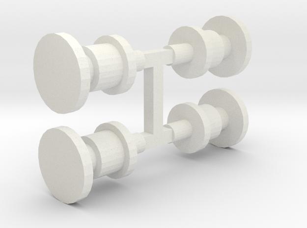 E2 Buffers x4 (sprue) - OO scale in White Natural Versatile Plastic