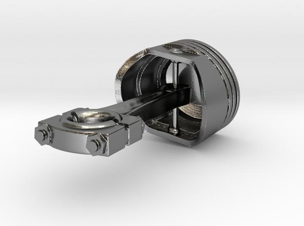 Rod & Piston Pendant in Polished Silver (Interlocking Parts)