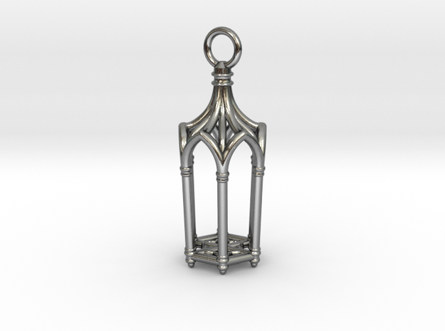 Gothic Cathedral Lantern in Polished Silver