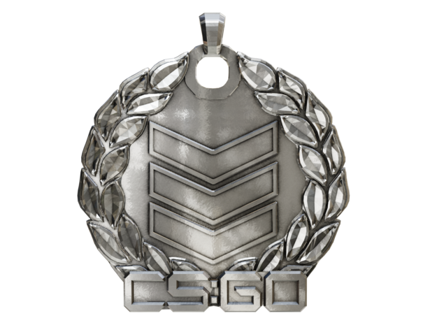 CS:GO - Silver 3 Pendant in Polished Silver