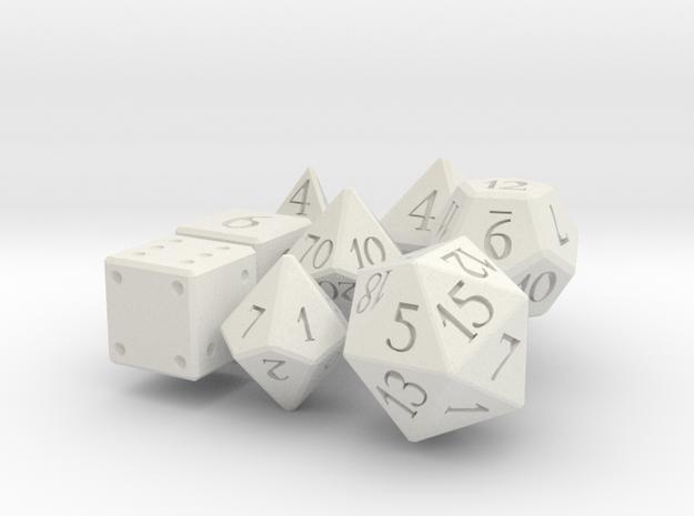 Full set of larger dice in White Natural Versatile Plastic