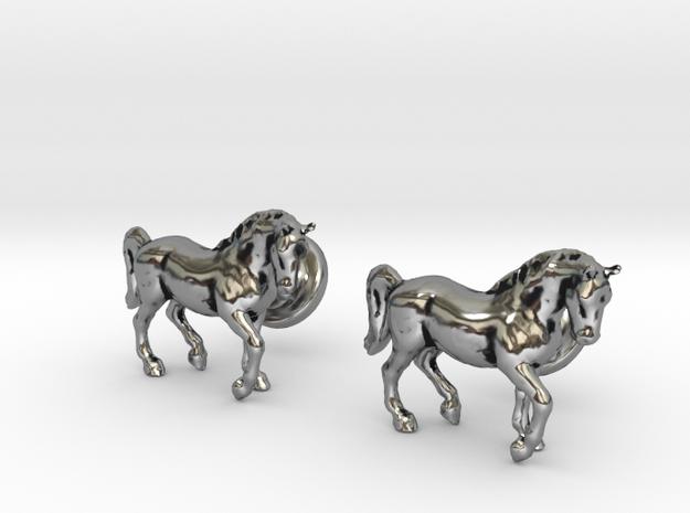 Stallion cufflinks in Antique Silver