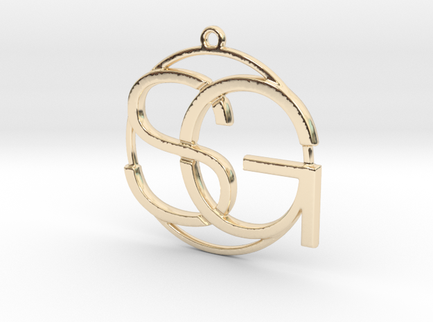 S&G Monogram in 14k Gold Plated Brass