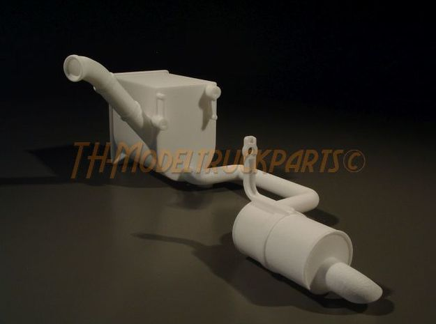 THM 00.5204 Exhaust pipe left Euro V Tamiya Volvo in White Processed Versatile Plastic
