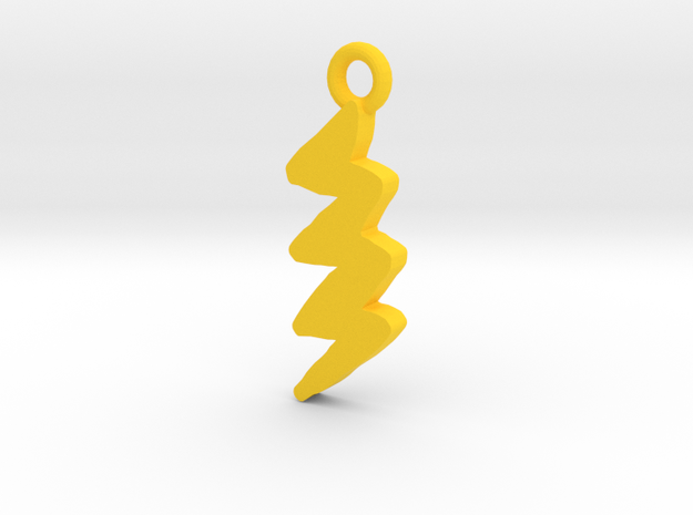 Lightning Bolt Pendant in Yellow Processed Versatile Plastic