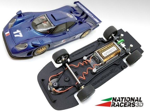 3D Chassis - Fly Porsche 911 GT1 98 (Combo) in Black Natural Versatile Plastic