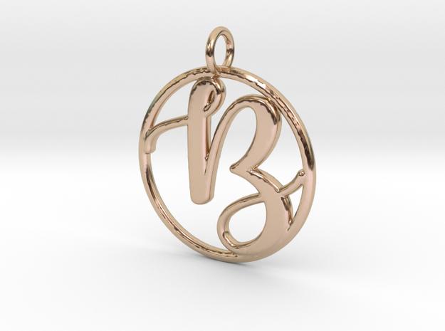 Cursive Initial B Pendant in 14k Rose Gold