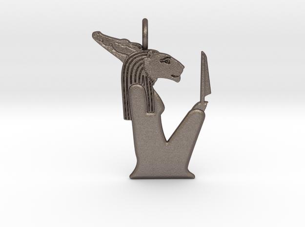 Hepet-Hor amulet in Polished Bronzed-Silver Steel