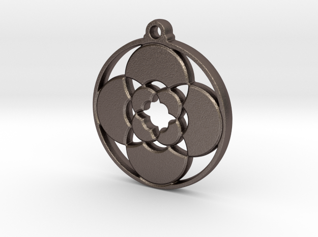 Lotus Pendant III in Polished Bronzed-Silver Steel