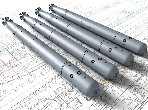 """1/192 Royal Navy 21"""" MKVIII Torpedos x4 in Smoothest Fine Detail Plastic"""