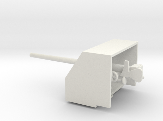 1/96 Scale British 4 inch QF Mark III with Shield in White Natural Versatile Plastic