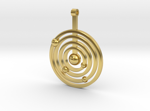 Solar system round pendant in Polished Brass
