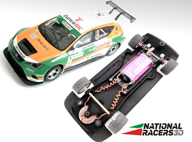 3D Chassis - SCX Seat Leon CUP Racer (Combo) in Black Natural Versatile Plastic