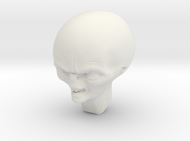 smiling alien professor head 1/6 scale in White Natural Versatile Plastic