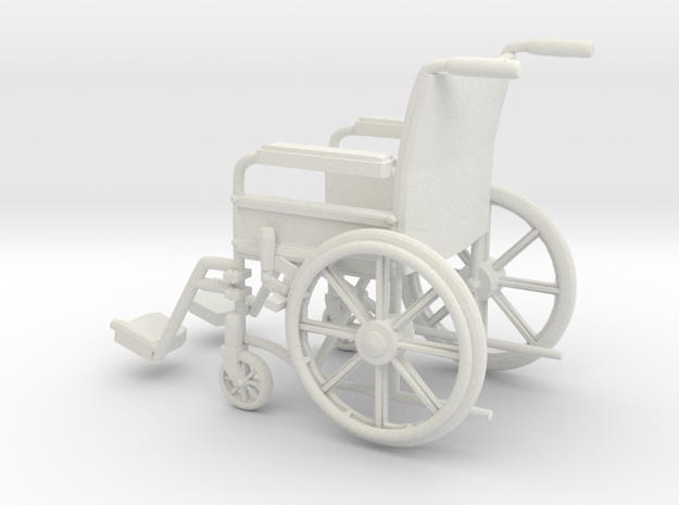 Wheelchair 01. 1:11 Scale in White Natural Versatile Plastic