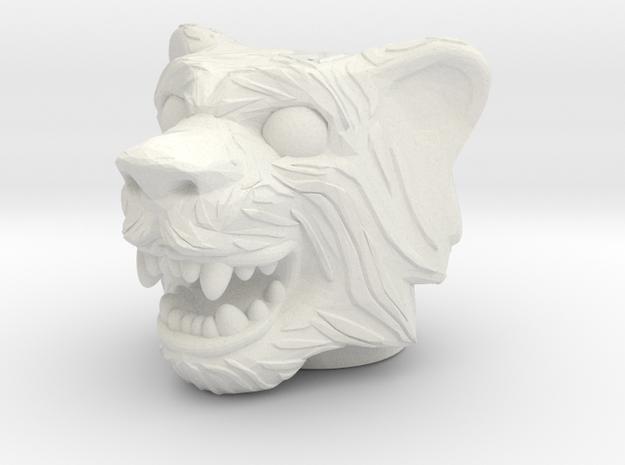 Tigerman Head - Multisize in White Natural Versatile Plastic: Medium