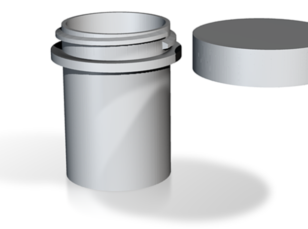 Container - lidded round outside thread in White Natural Versatile Plastic