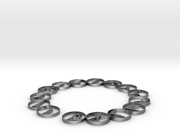 Bangle with 15 yoga poses 66.9 mmm in Polished Silver
