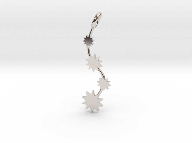 P O W E R Fall Pendant in Rhodium Plated Brass