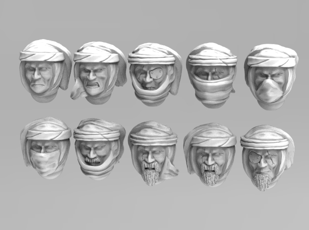 Imperial Soldier Heads With Desert Headgear 1