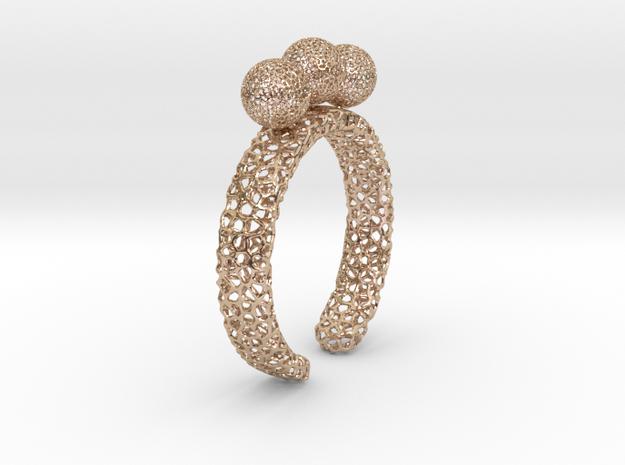 Voronoi fidget ring. Size 9. Balls spin.  in 14k Rose Gold Plated Brass