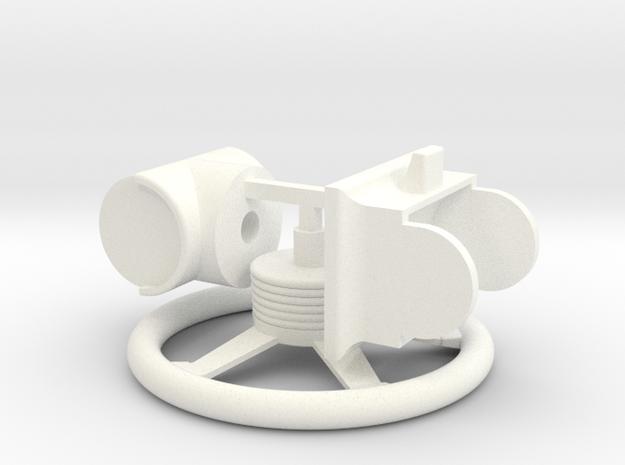 Steering wheel 1:10 in White Processed Versatile Plastic