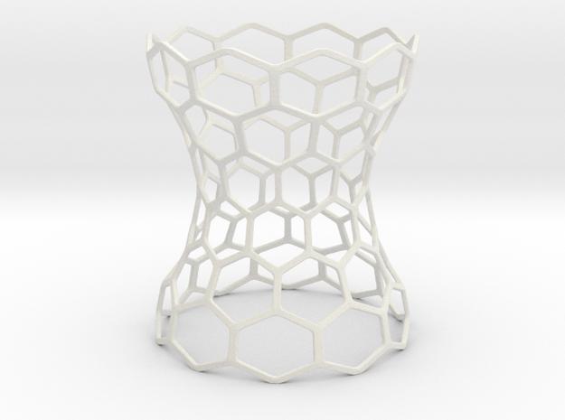 Hex Grid Vase in White Natural Versatile Plastic: Extra Small