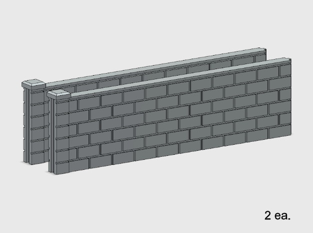 5' Block Wall - 2-Long Jointed Sections in White Natural Versatile Plastic: 1:87 - HO