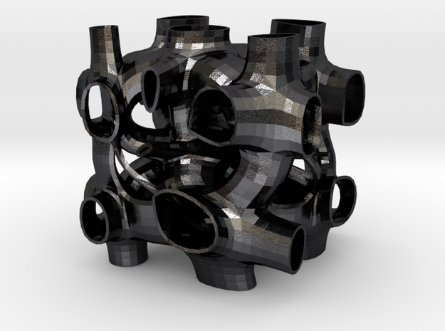 Vorospace Sculpture 6 in Polished and Bronzed Black Steel