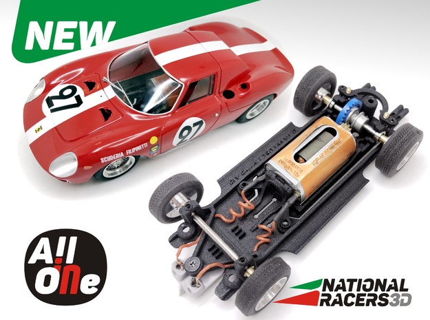 Chassis - Fly Ferrari 250 LM (Inline-AiO) in Black PA12