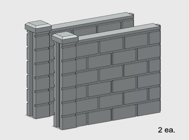 5' Block Wall - 2-Short Jointed Sections in White Natural Versatile Plastic: 1:87 - HO