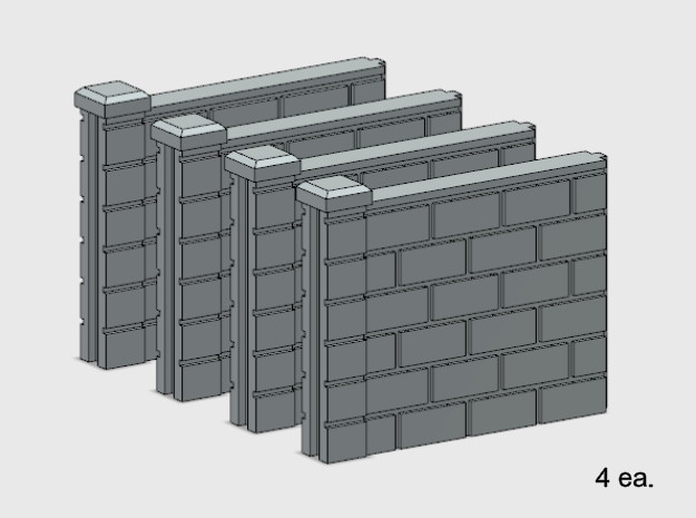 5' Block Wall - 4-Short Jointed Sections in White Natural Versatile Plastic: 1:87 - HO